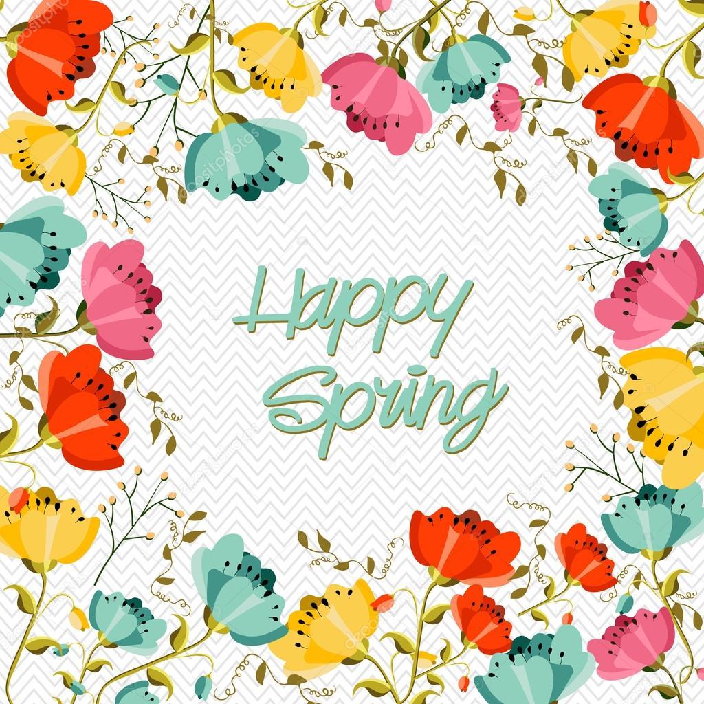 Happy Spring flower greeting card