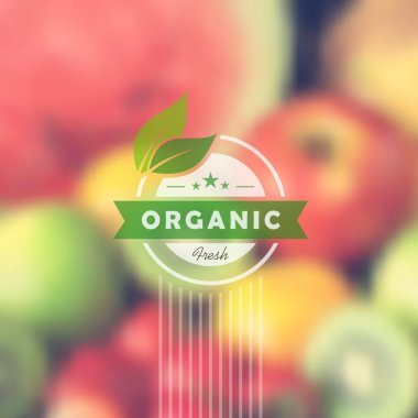Organic food retro label blurred background