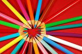 Colorful circle of pencil crayons