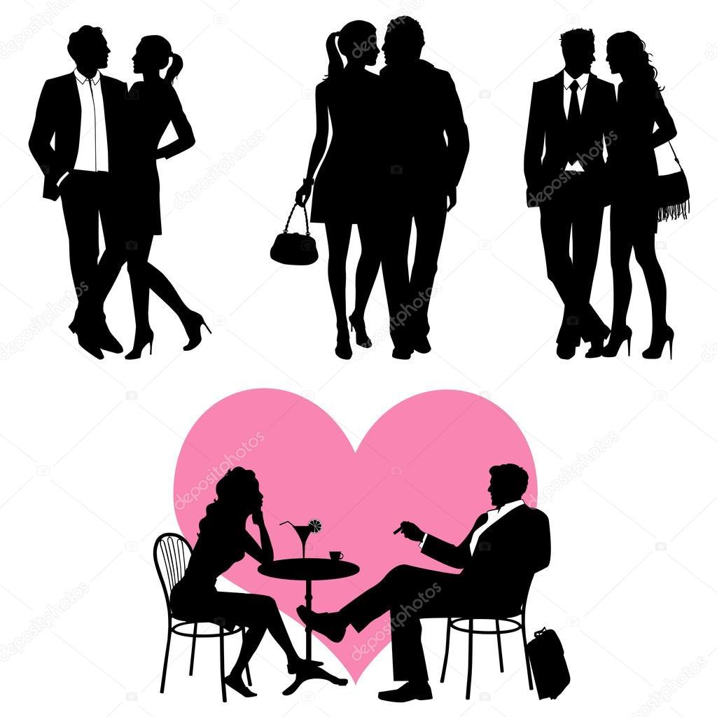 Lots of , romance couple, silhouette - vector set