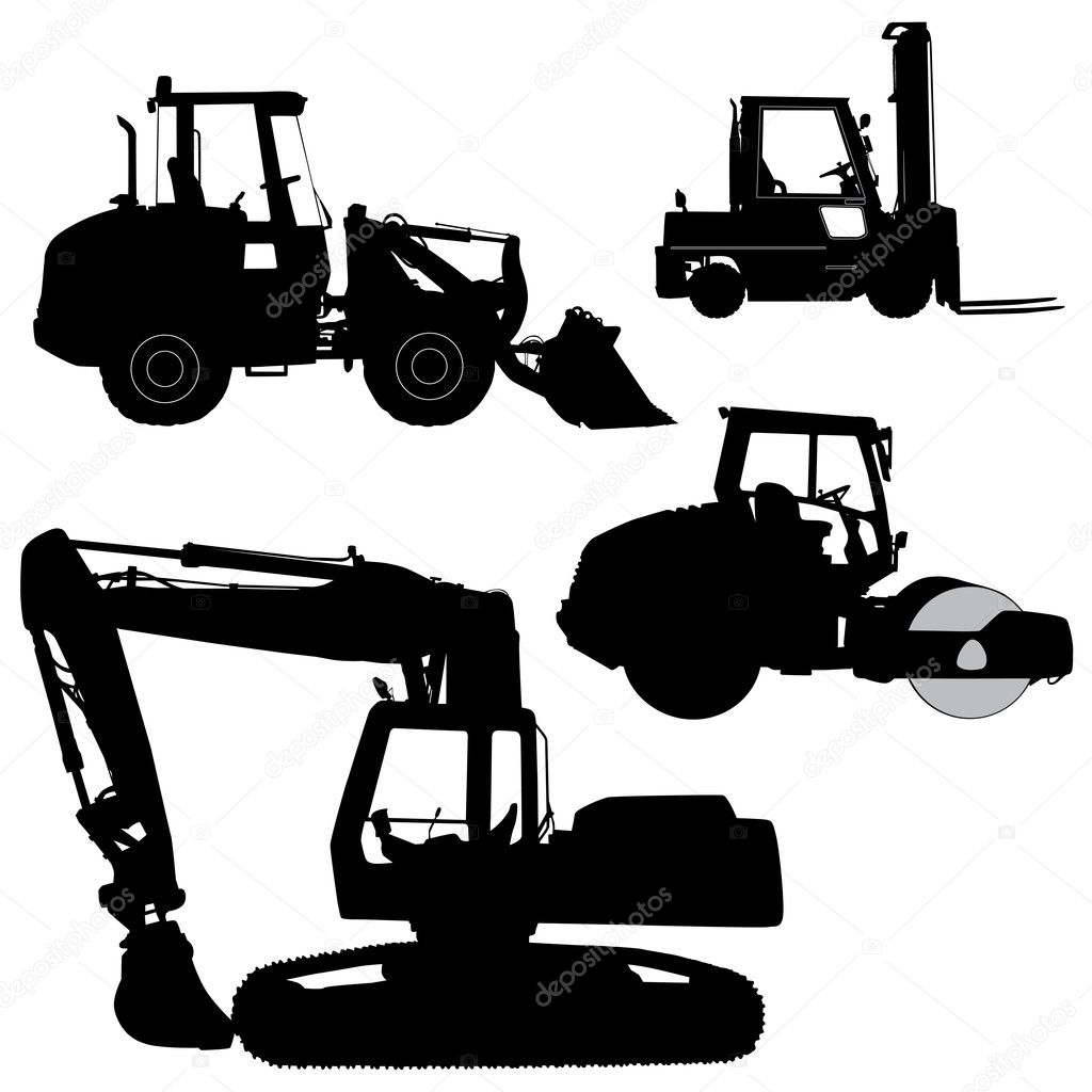 Machinery  Set of silhouettes of a tractors of road service