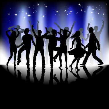 A group of people having a good time in disco. Crowd infront of