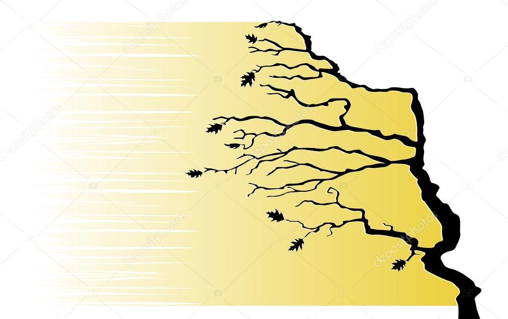 The tree is bending by the wind. Vector illustration