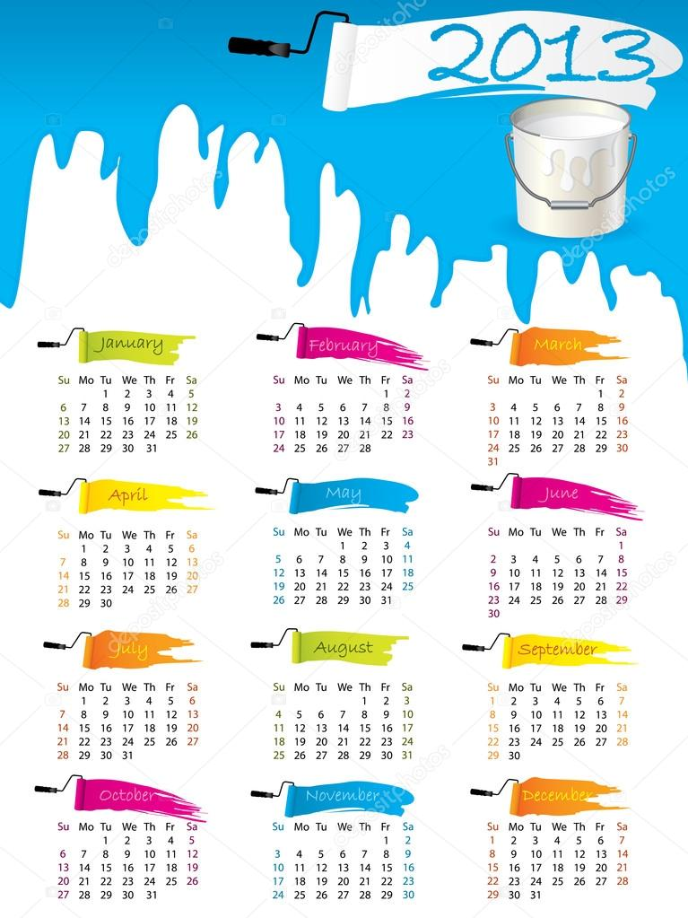 Illustration Calendar Design : Calendar design with splatter and paint — stock