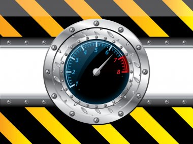 Tachometer design with industrial elements
