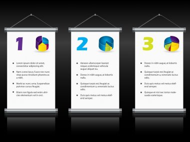 Hanging roll up displays with options