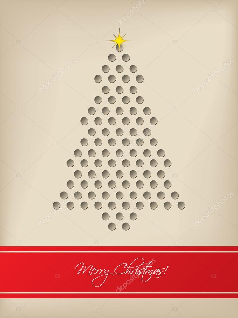 Cool Christmas Card With Tree Shaped 3d Dots Stock Vector