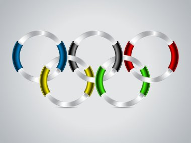 Background design with color ribbons on olympic rings