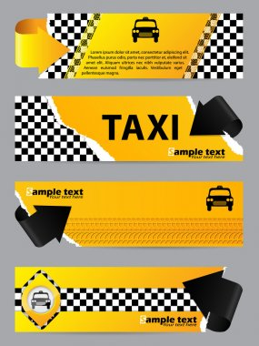 Cool taxi company banner set of 4