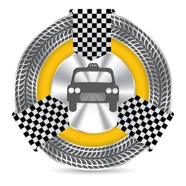 Metallic taxi badge design with tire tread