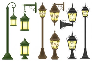 Set streetlight vector illustration
