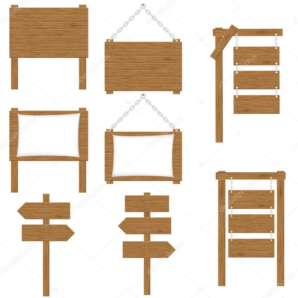 Wooden boards signs vector illustration