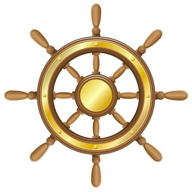 Steering wheel for ship vector illustration