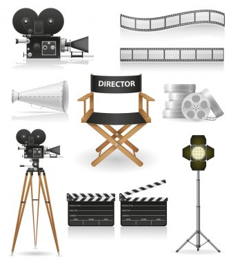Set icons cinematography cinema and movie vector illustration isolated on white background stock vector