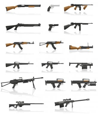 weapon and gun set collection icons vector illustration