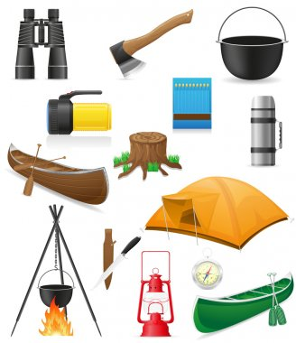 set icons items for outdoor recreation vector illustration
