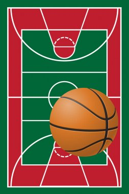 Basketball court and ball vector illustration clip art vector