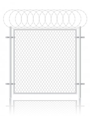 Fence made of wire mesh vector illustration