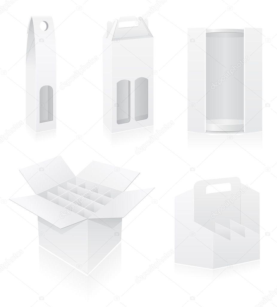Verpackung Box für Flasche set Symbole Vektor-illustration ...