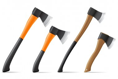 tool axe with wooden and plastic handle vector illustration