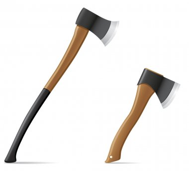 tool axe with wooden handle vector illustration