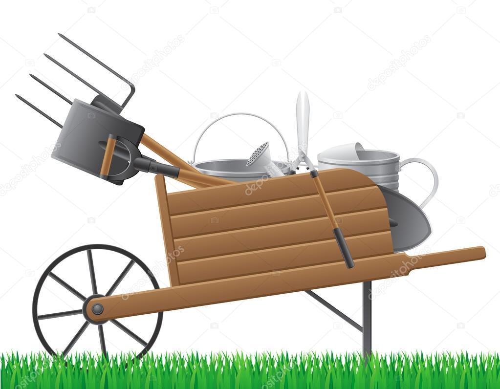 En bois brouette ancienne de jardin r tro avec outil vecteur illustratio image vectorielle - Brouette de jardin en bois ...