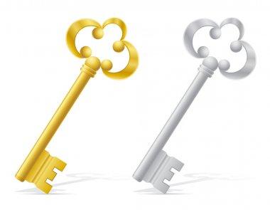 Old retro keys door lock vector illustration