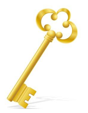 old retro key door lock vector illustration