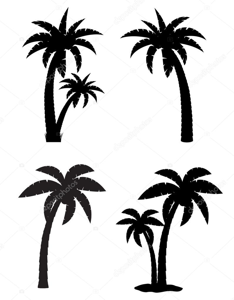 palm tropical tree set icons black silhouette vector illustratio rh depositphotos com