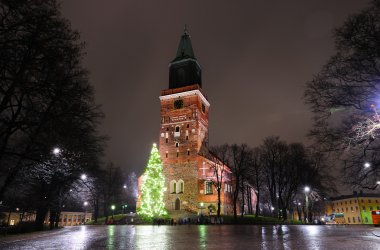 Christmas tree on cathedral square in Turku