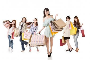 Attractive asian shopping women