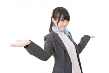 Young asian business woman shrugging