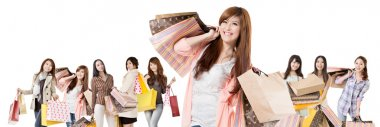 Happy Asian shopping girls