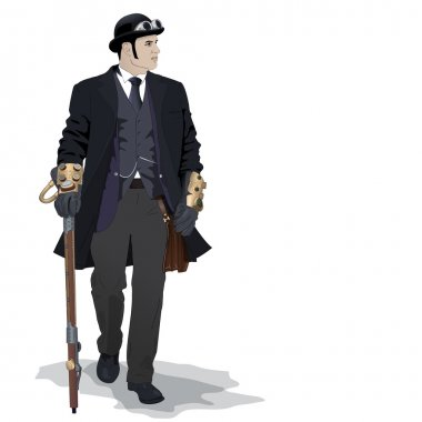 Vector steampunk man
