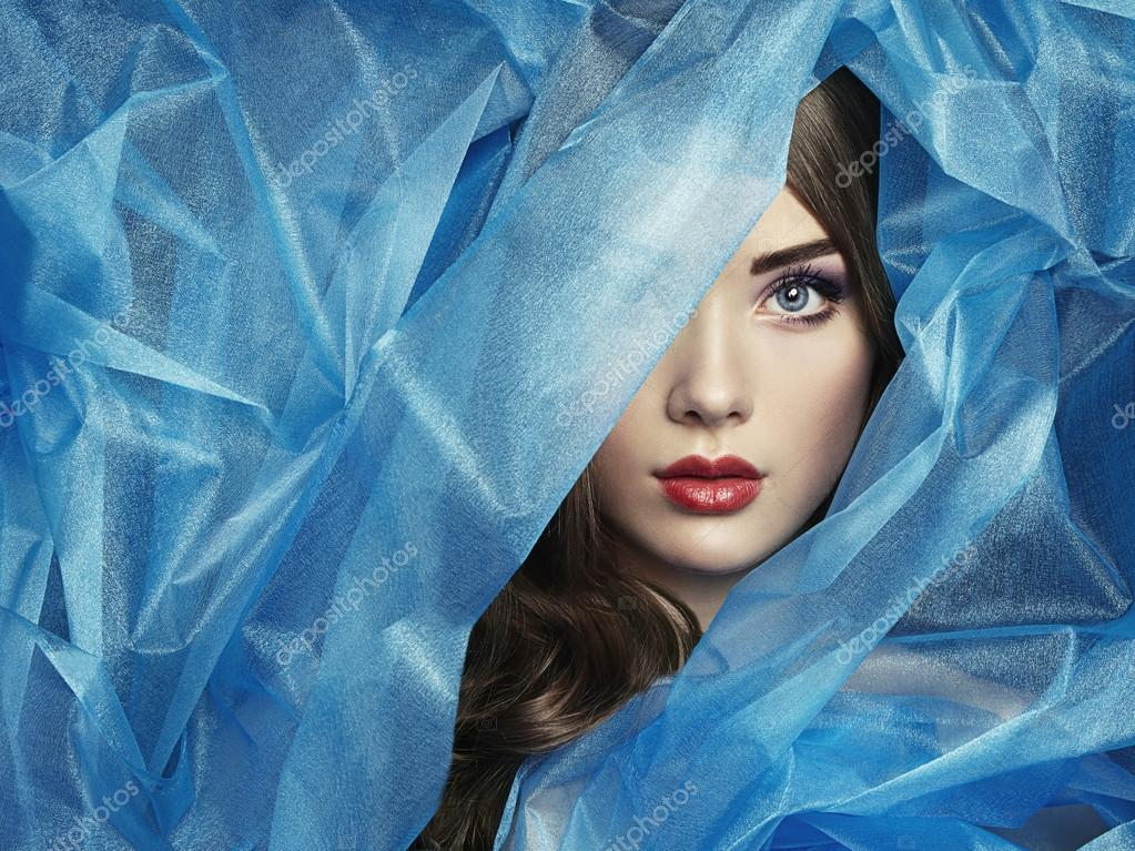 Fashion photo of beautiful women under blue veil. Beauty portrait stock vector