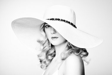 Fashion photo of young magnificent woman in hat. Girl posing. Studio photo. Blonde woman. Perfect Makeup stock vector