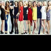 Modecollage. Gruppe schöner junger Frauen