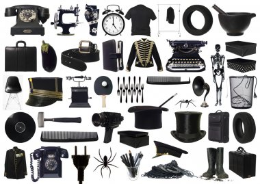 Collage of Black objects on white background stock vector