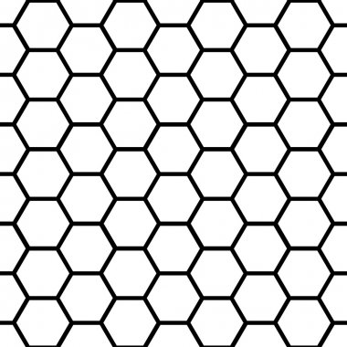 Seamless black honeycomb pattern over white