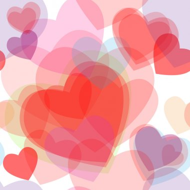 Seamless transparent multicolor hearts pattern