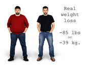 Fotografie vor und nach der Gewichtsabnahme