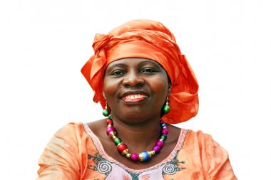 Smiling African woman in orange scarf on white