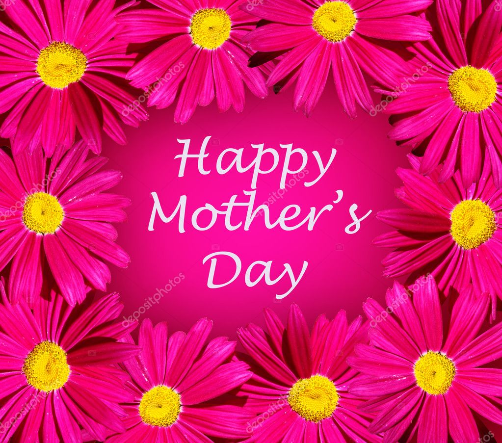Mothers day card with pink flower frame