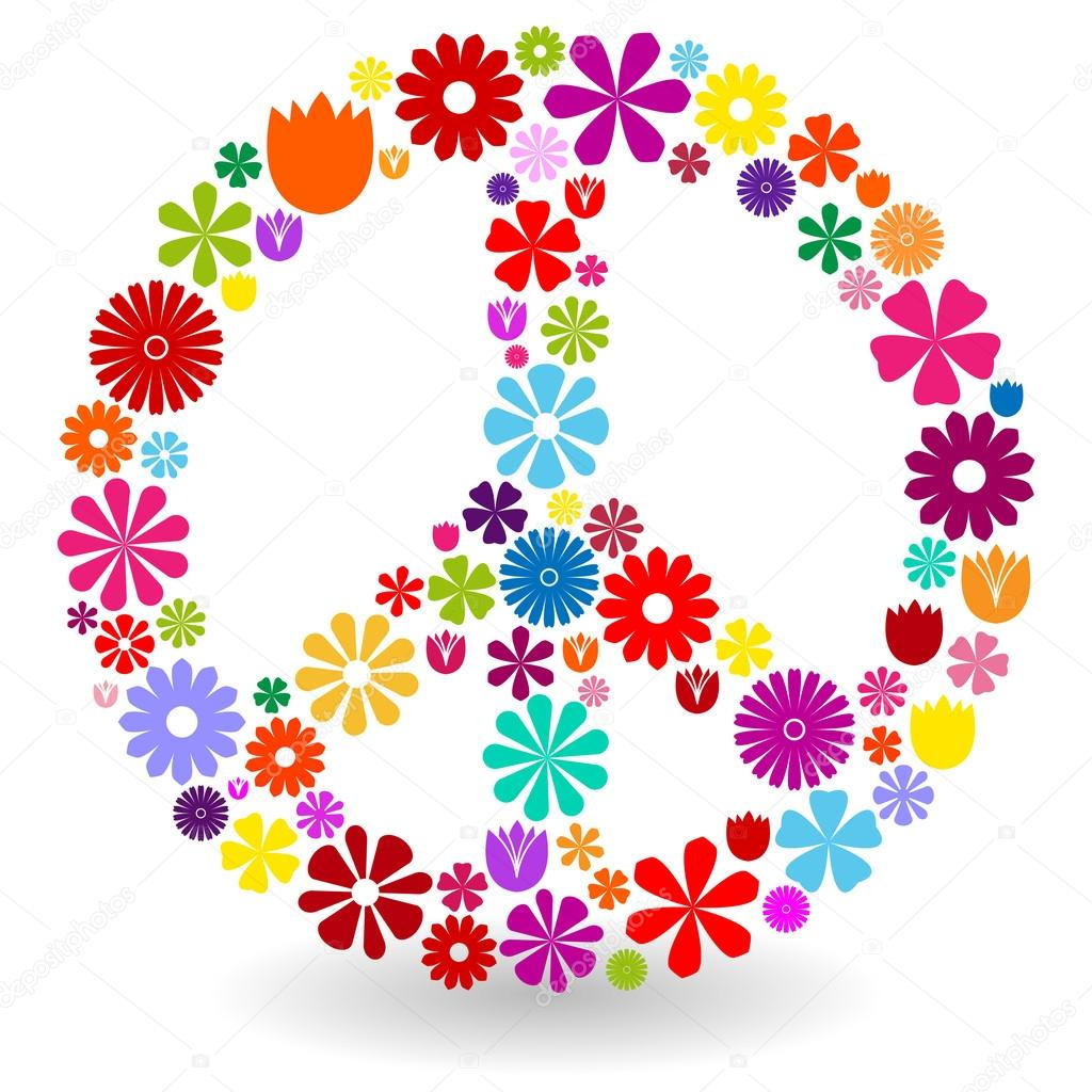 Peace sign made of flowers