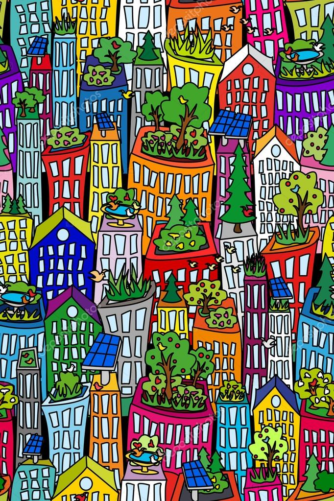 Seamless cityscape2-green roofs