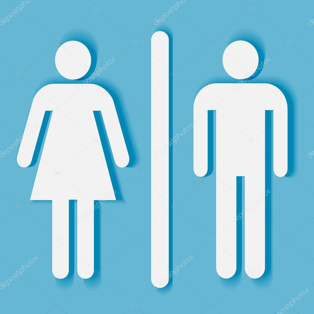 bathroom symbol. Bathroom Or Toilet Sign And Symbol: Man Woman Silhouette With Shadow \u2014 Vector By Mirage3 Symbol