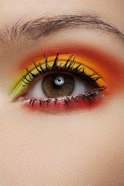 Cosmetics and beauty care. Macro close-up of beautiful green female eye with bright fashion runway make-up. Rainbow eye shadows and black eyeliner