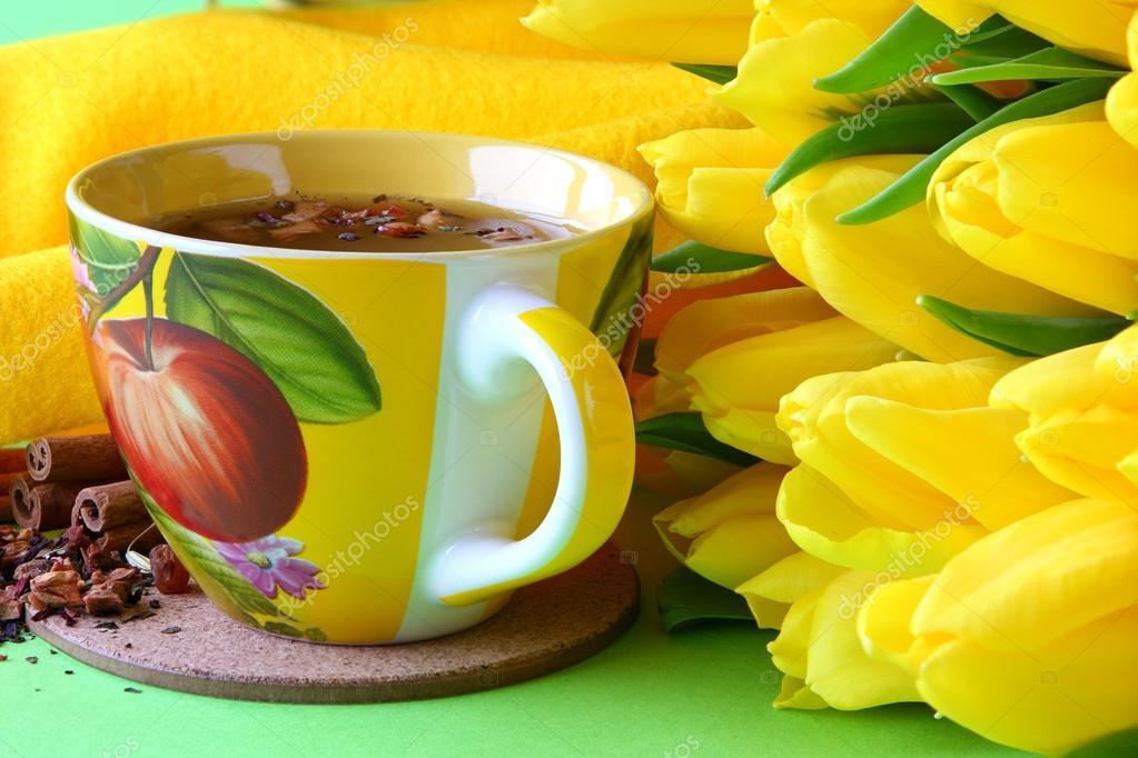 забота желтые тюльпаны чай утро живые лучшие картинки вок был для