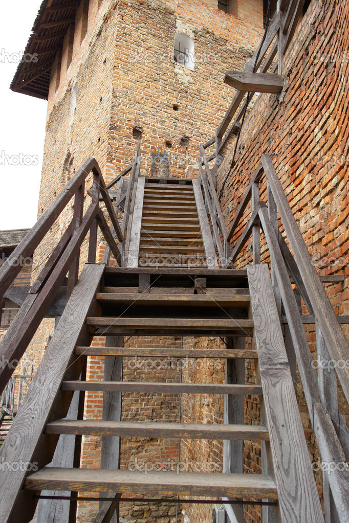 Wooden stairs to the old castle — Stock Photo © Entuazist