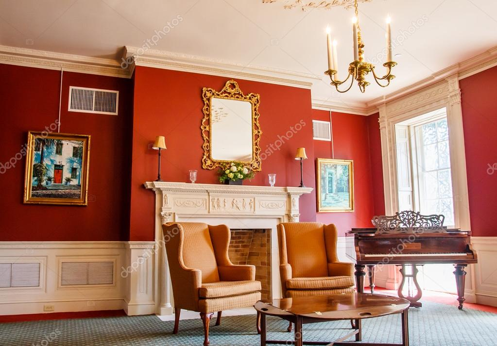 Klassischen Salon mit Klavier — Redaktionelles Stockfoto ...